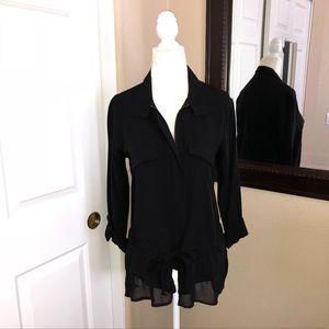 Sacs Fifth Avenue Black Zippered Blouse NWOT